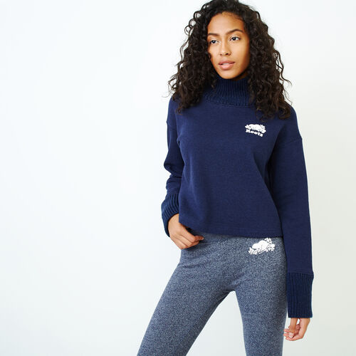 Roots-Women Categories-Mix and Match Turtleneck Sweatshirt-Navy Blazer Mix-A