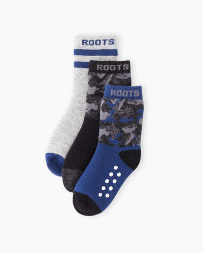 Roots-Sale Toddler-Toddler Camo Sock 3 Pack-Black Camo-A