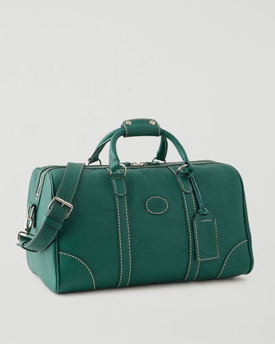 Roots-Leather Weekender Bags-Small Banff Parisian-Emeraude-A