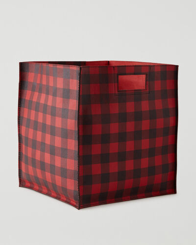 Roots-Leather Leather Accessories-Park Plaid Extra Large Basket Cervino-Cabin Red-A