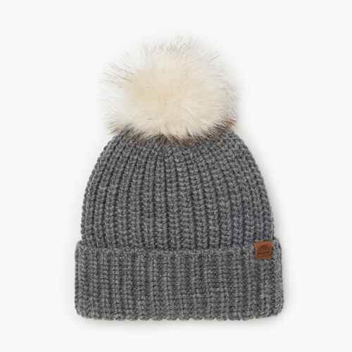 Roots-Gifts Accessory Sets-Olivia Fur Pom Pom Toque-Grey Mix-A