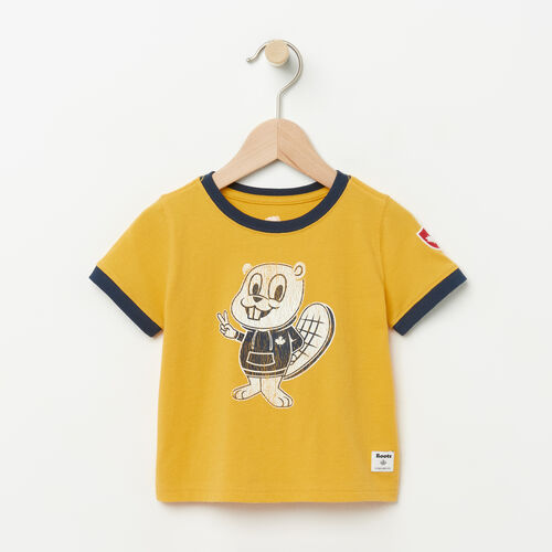 Roots-Kids Baby-Baby Mackenzie Ringer T-shirt-Sunset Yellow-A