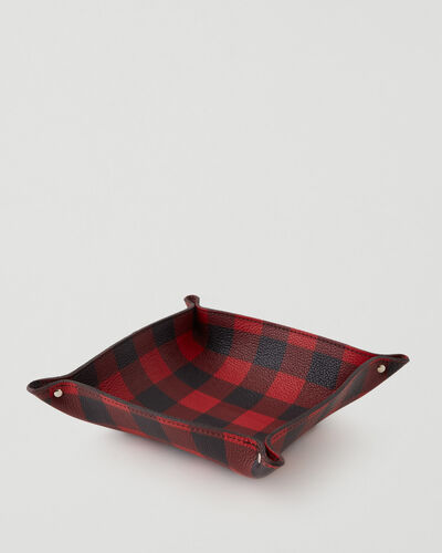Roots-Leather Leather Accessories-Park Plaid Large Tray Cervino-Cabin Red-A
