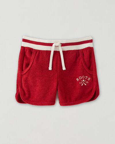Roots-Sweats Girls-Girls Cabin Towelling Short-Cabin Red-A