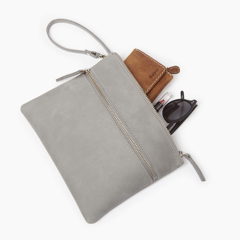 Roots-Leather  Handcrafted By Us Our Favourite New Arrivals-Double Zip Wristlet-Quartz-B