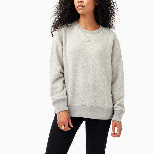 Roots-Women Sweats-Georgina Terry Sweat Crew-Grey Mix-A