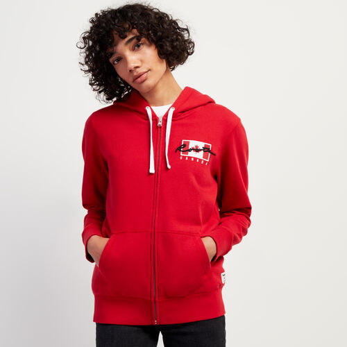 Roots-New For November Script Collection - Additional 40% Off-Script Canada Full Zip Hoody-Sage Red-A