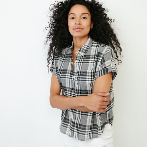 Roots-Clearance Tops-Alder Flat Madras Shirt-Black-A
