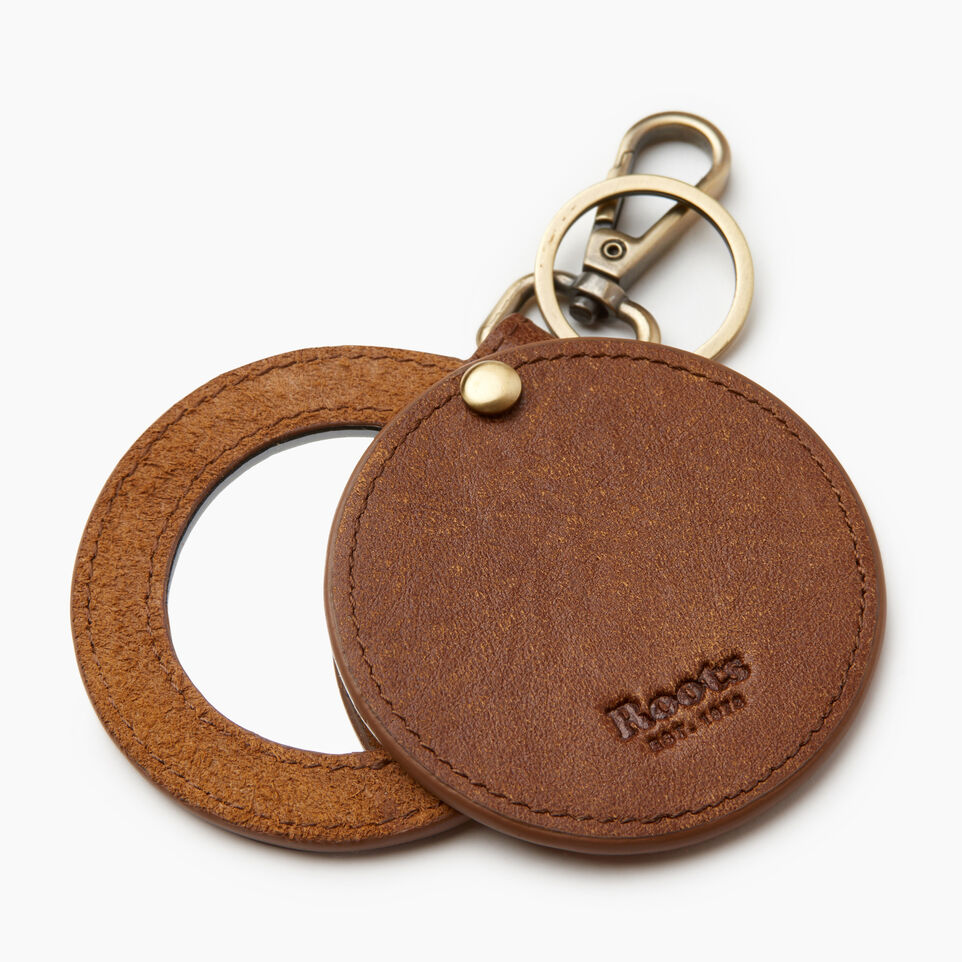 Roots-Women Leather Accessories-Mirror Key Ring-Natural-A