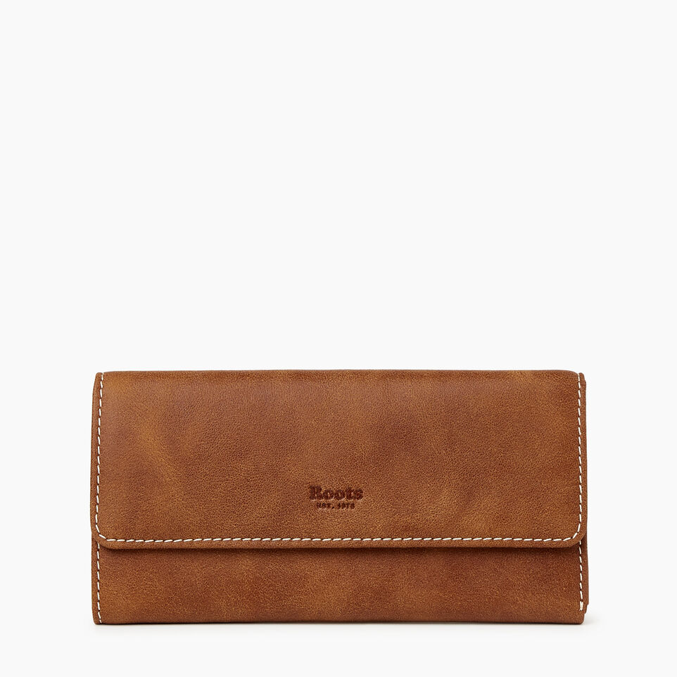 Roots-Women Leather Accessories-Medium Trifold Clutch Tribe-Natural-A