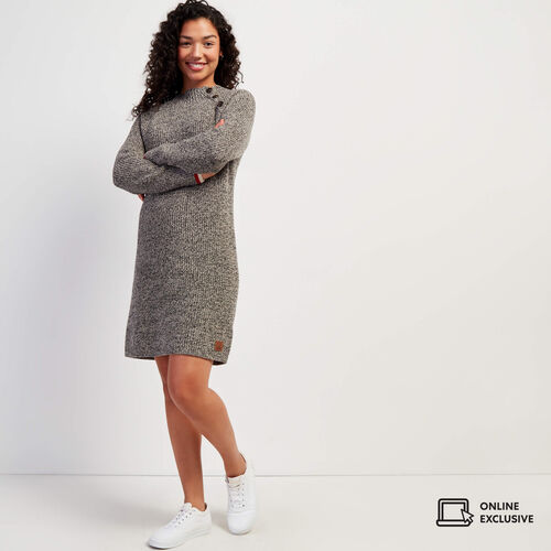 Roots-Women Dresses & Jumpsuits-Cabin Button Sweater Dress-Grey Oat Mix-A