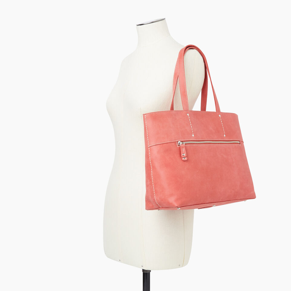 Roots-Leather Categories-Westmount Tote Tribe-Coral-B