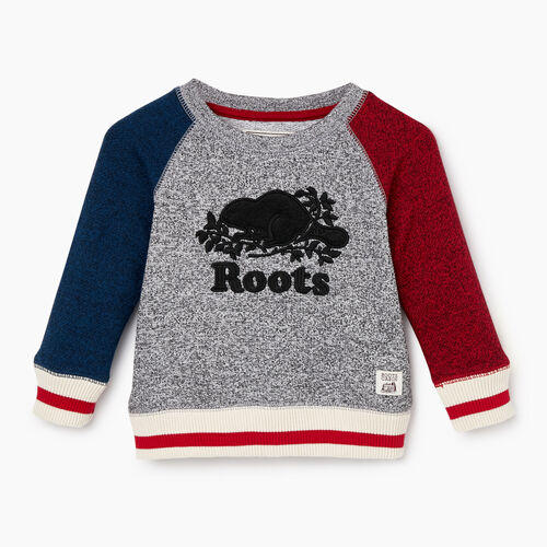 Roots-New For December Kids-Baby Roots Cabin Crew Sweatshirt-Active Blue Pepper-A