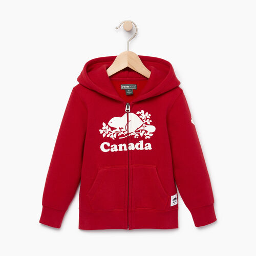 Roots-Kids Canada Collection-Toddler Canada Full Zip Hoody-Sage Red-A