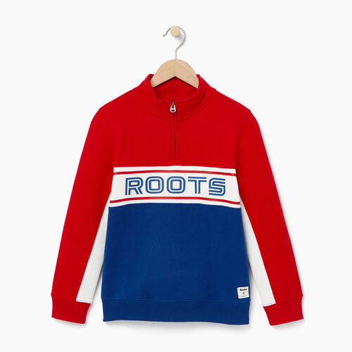 Roots-Winter Sale Kids-Boys Sportsmas 1/4 Zip Pullover-Active Blue-A