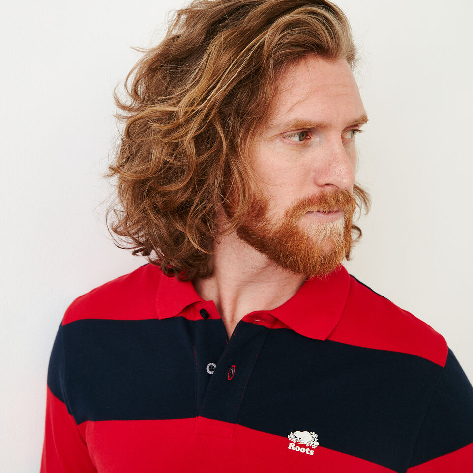 Roots-Men Categories-Heritage Striped Pique Polo-Racing Red-E