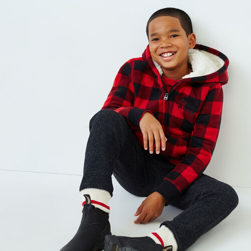 Roots-Kids Sweats-Boys Park Plaid Sherpa Lined Hoody-Cabin Red-A
