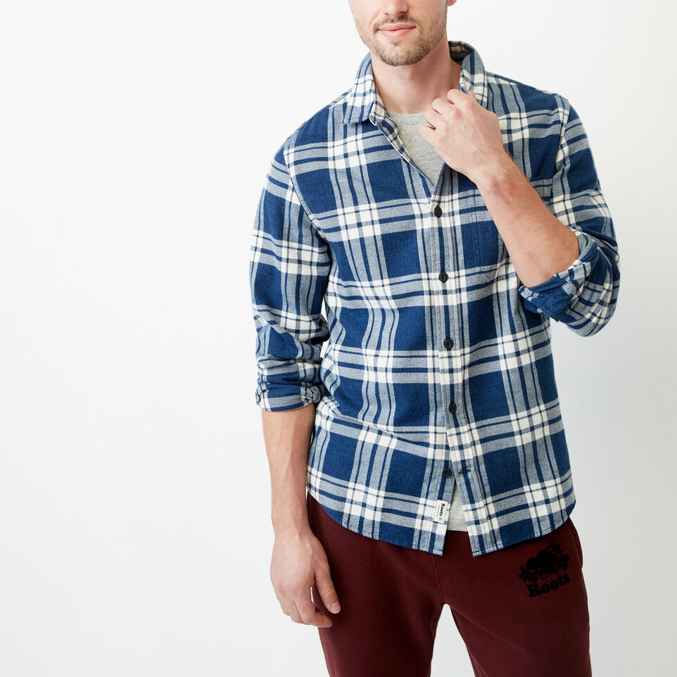 Roots-Men Shirts & Polos-Northlands Flannel Shirt-Active Blue-A