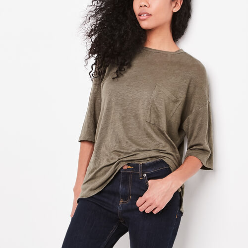 Roots-New For April Layers For Every Season-Saratoga Top-Dusty Olive-A