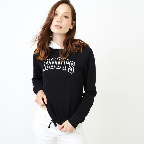 Roots-Women Categories-Colourblock Hoody-Black-A