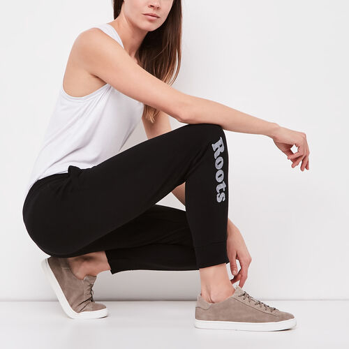 Roots-Women Cropped Sweatpants-Busted Cooper Crop Sweatpant-Black-A