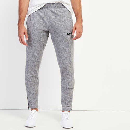 Roots-Men Bottoms-Zipper Park Slim Sweatpant-Salt & Pepper-A