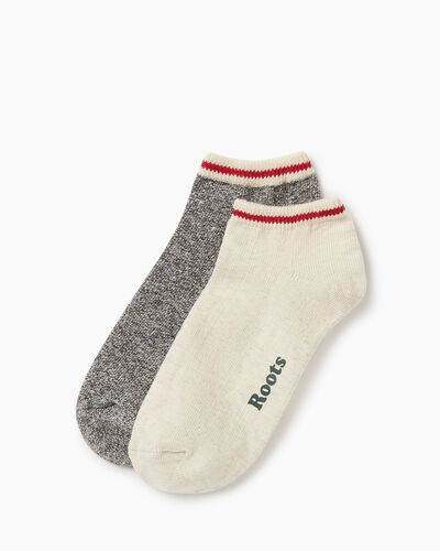 Roots-Women Accessories-Womens Cotton Cabin Ped Sock 2 pack-White Grey Mix-A
