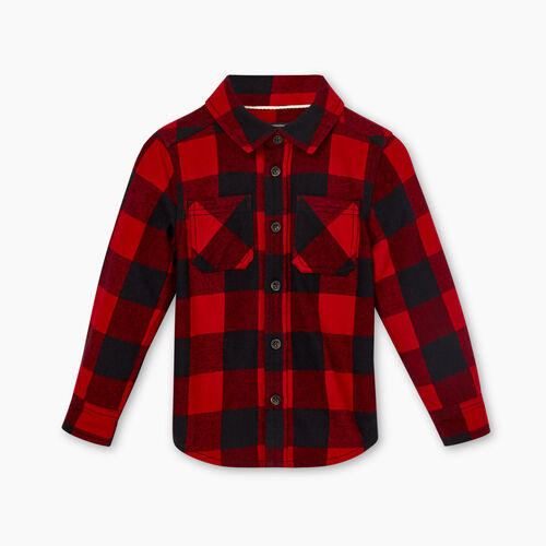Roots-Kids Tops-Toddler Park Plaid Flannel Shirt-Cabin Red-A