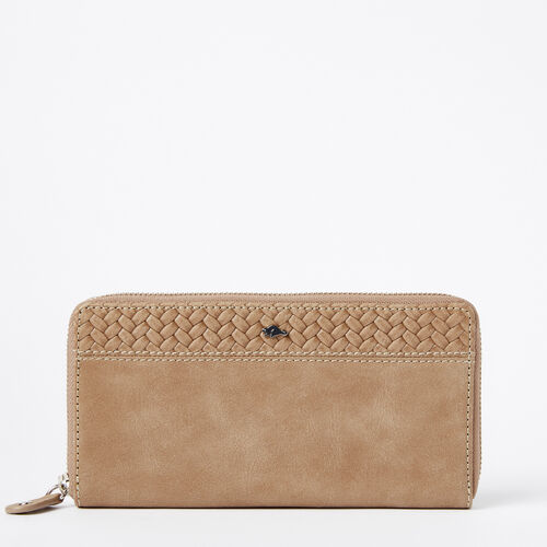 Roots-Women Wallets-Two Toned Wallet Woven-Sand-A