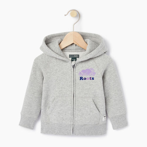 Roots-Clearance Baby-Baby Original Full Zip Hoody-Grey Mix-A