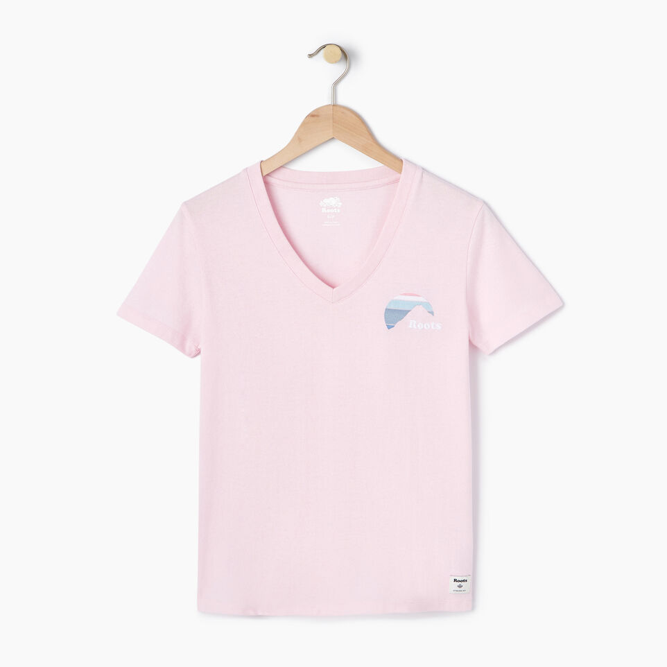 Roots-New For July Daily Offer-Womens Nanaimo V-neck T-shirt-Pink Mist Pepper-A