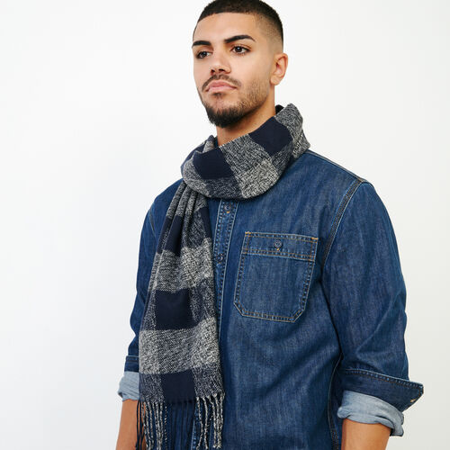 Roots-Men Our Favourite New Arrivals-Roots Park Plaid Scarf-Navy-A