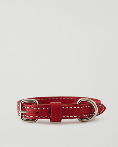 Roots-Leather Dog Accessories-Extra Small Leather Dog Collar-Lipstick Red-A