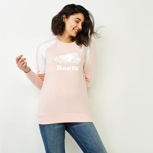 Roots-Women Categories-Cozy Colourblocked Crew Sweatshirt-Silver Pink Pepper-A