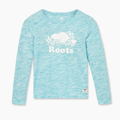 Roots-Kids New Arrivals-Girls Original Cooper Beaver T-shirt-Moroccan Blue Mix-A