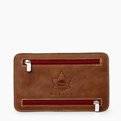 Roots-Leather Leather Accessories-Park Plaid Zip Travel Pouch-Natural-A