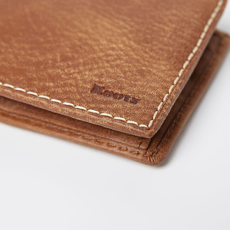 Roots-Leather Men's Wallets-Mens Slimfold Wallet With Coin Pocket Tribe-Natural-D