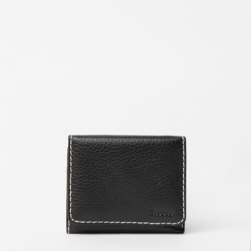 Roots-Leather  Handcrafted By Us Categories-Easy Trifold Wallet-Black-A