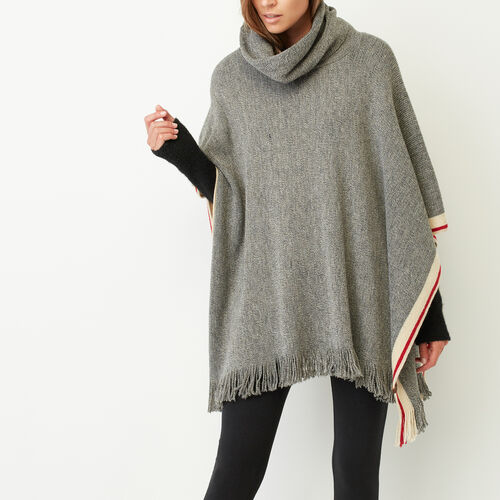 Roots-New For November The Roots Cabin Collection™-Roots Cabin Poncho-Grey Oat Mix-A